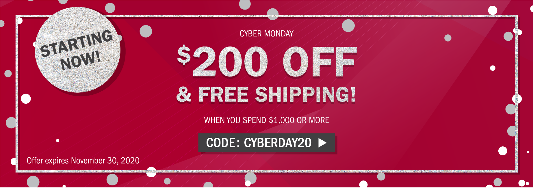 Cyber Monday: Save $200 on your order of $1,000+